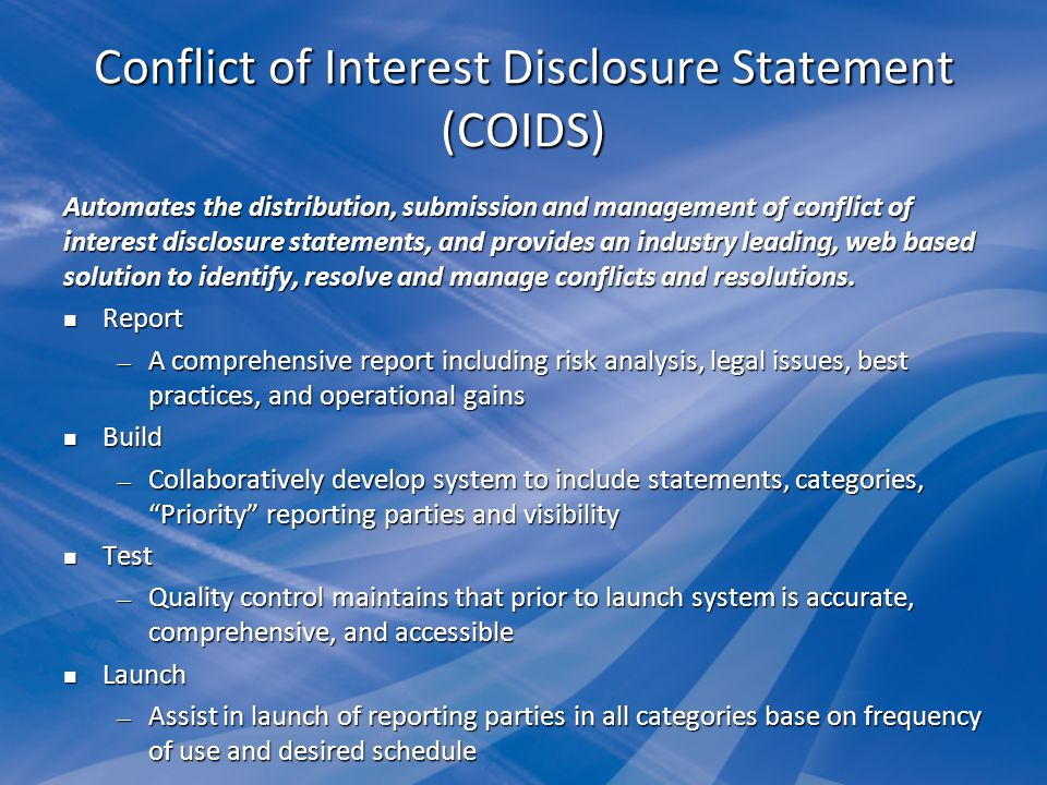 Conflict of Interest Disclosure Statement (COIDS)