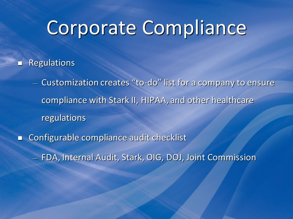 Corporate Compliance Regulations