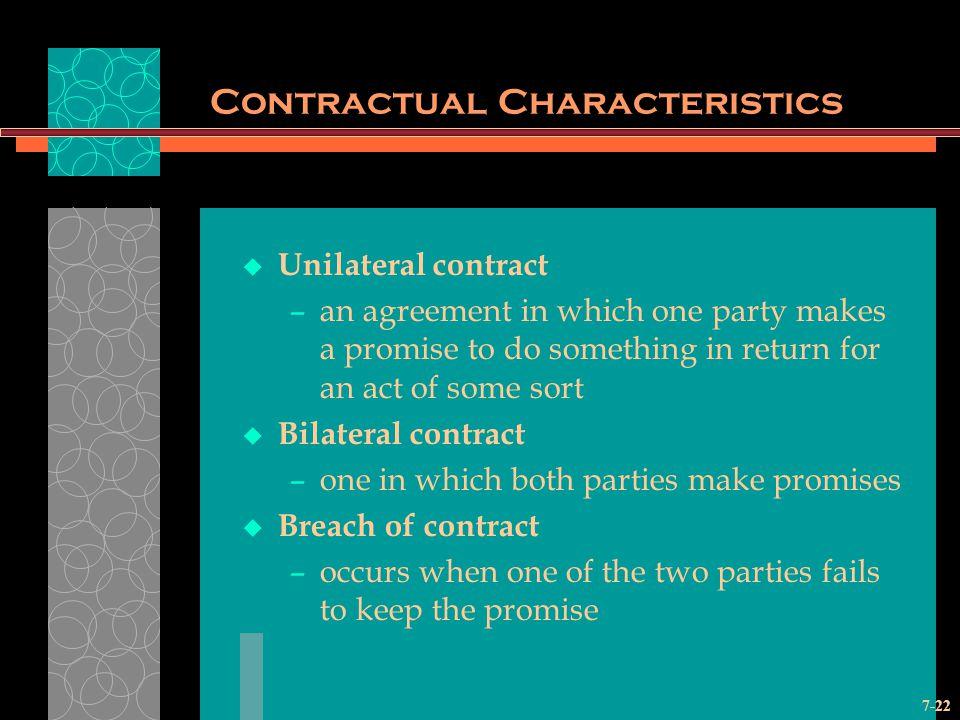Contractual Characteristics