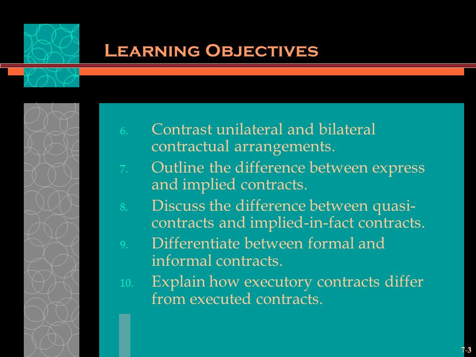 Learning Objectives Contrast unilateral and bilateral contractual arrangements. Outline the difference between express and implied contracts.