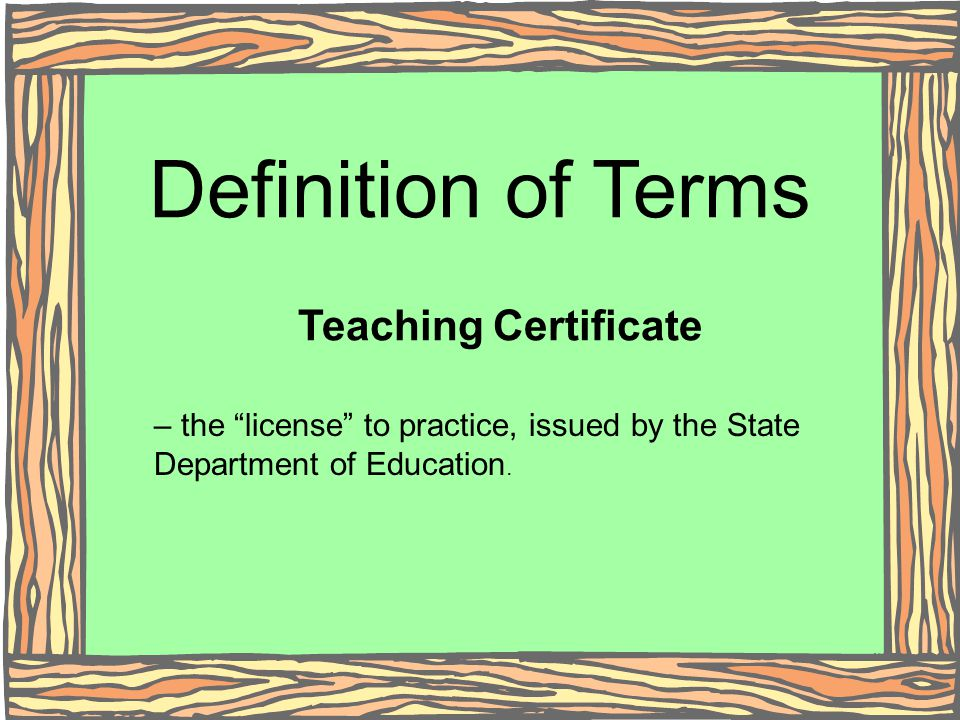 Definition of Terms Teaching Certificate