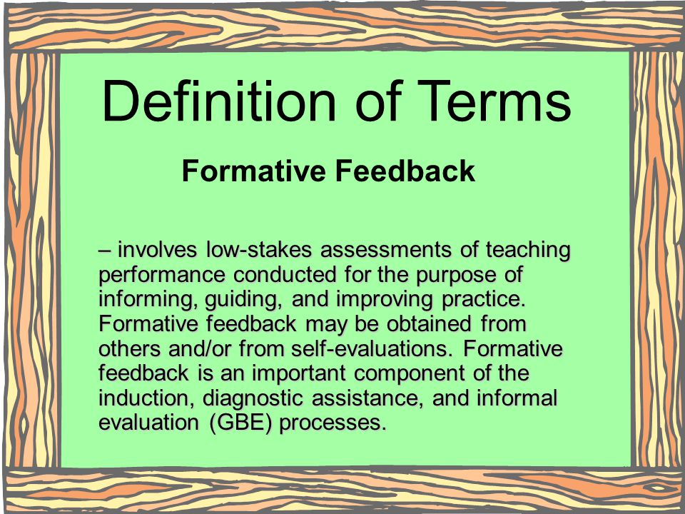 Definition of Terms Formative Feedback