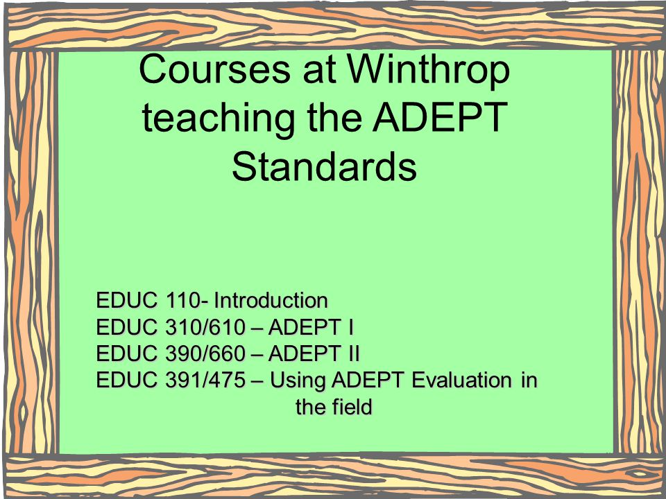 Courses at Winthrop teaching the ADEPT Standards