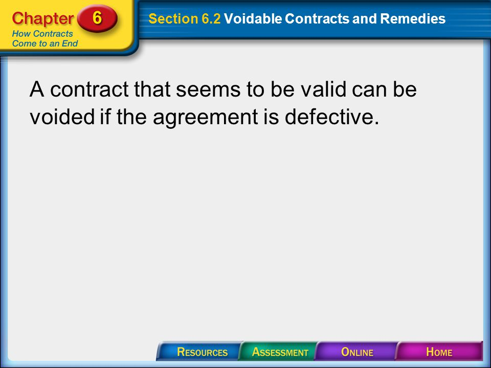 Section 6.2 Voidable Contracts and Remedies