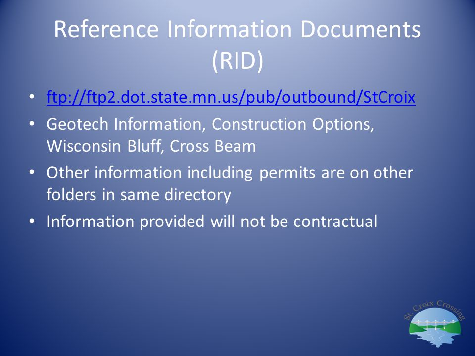 Reference Information Documents (RID)