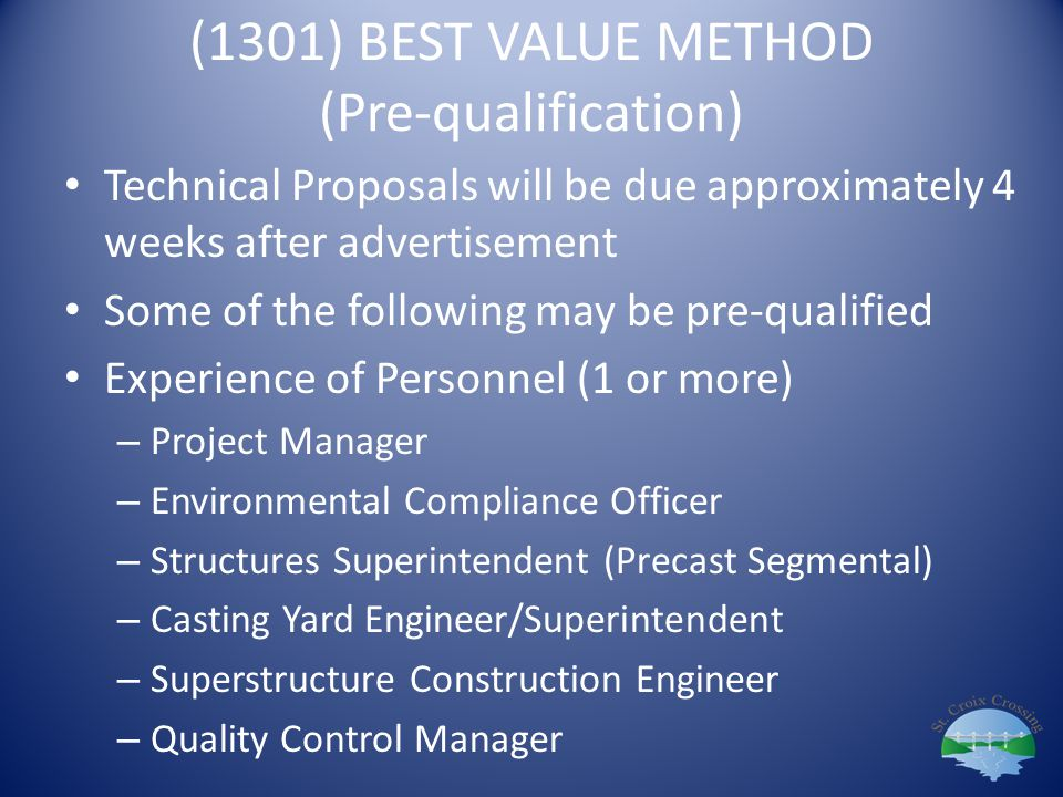 (1301) BEST VALUE METHOD (Pre-qualification)