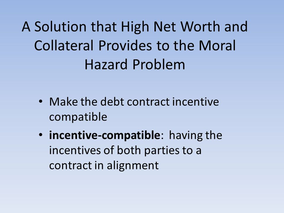 A Solution that High Net Worth and Collateral Provides to the Moral Hazard Problem