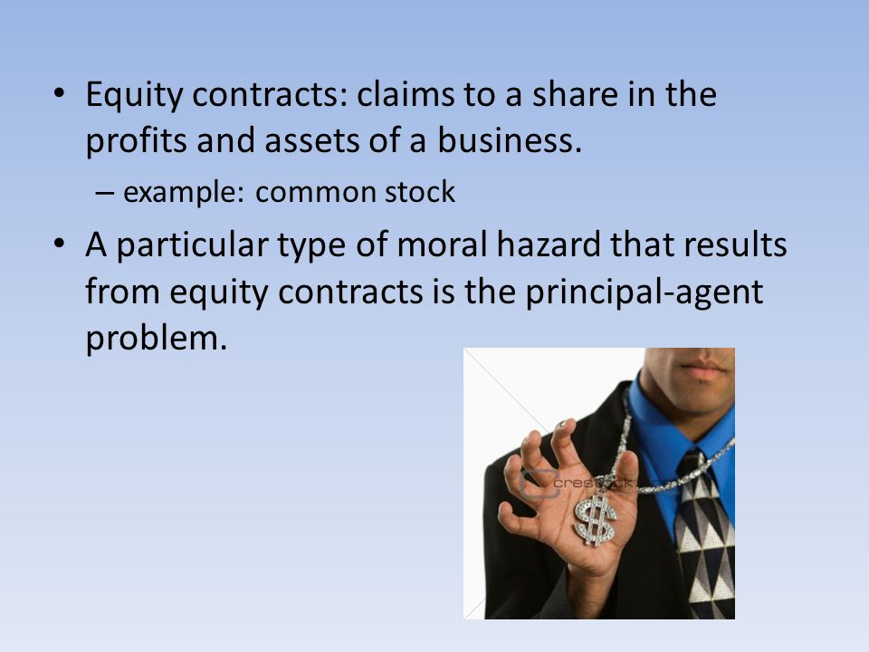 Equity contracts: claims to a share in the profits and assets of a business.