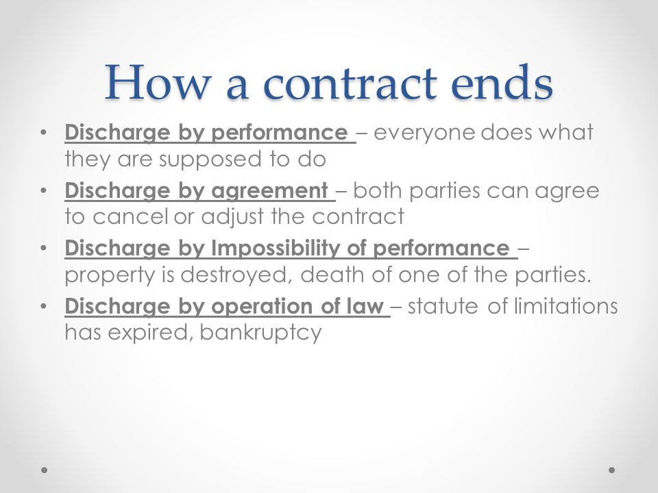 How a contract ends Discharge by performance – everyone does what they are supposed to do.
