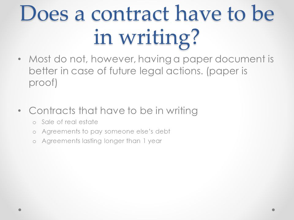 Does a contract have to be in writing