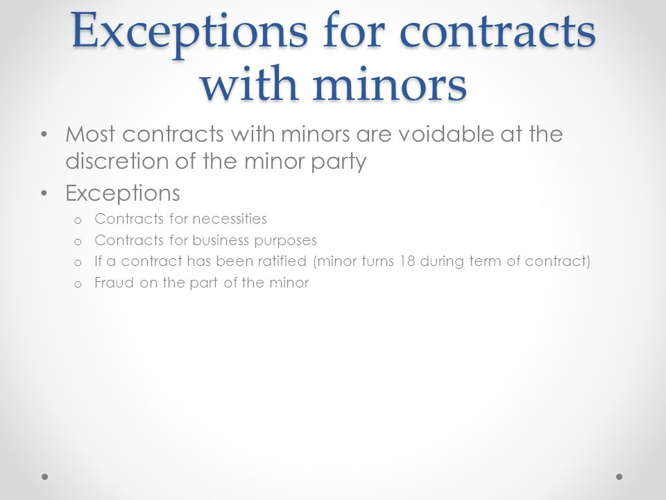 Exceptions for contracts with minors
