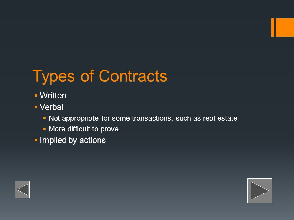 Types of Contracts Written Verbal Implied by actions