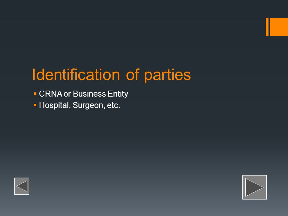 Identification of parties