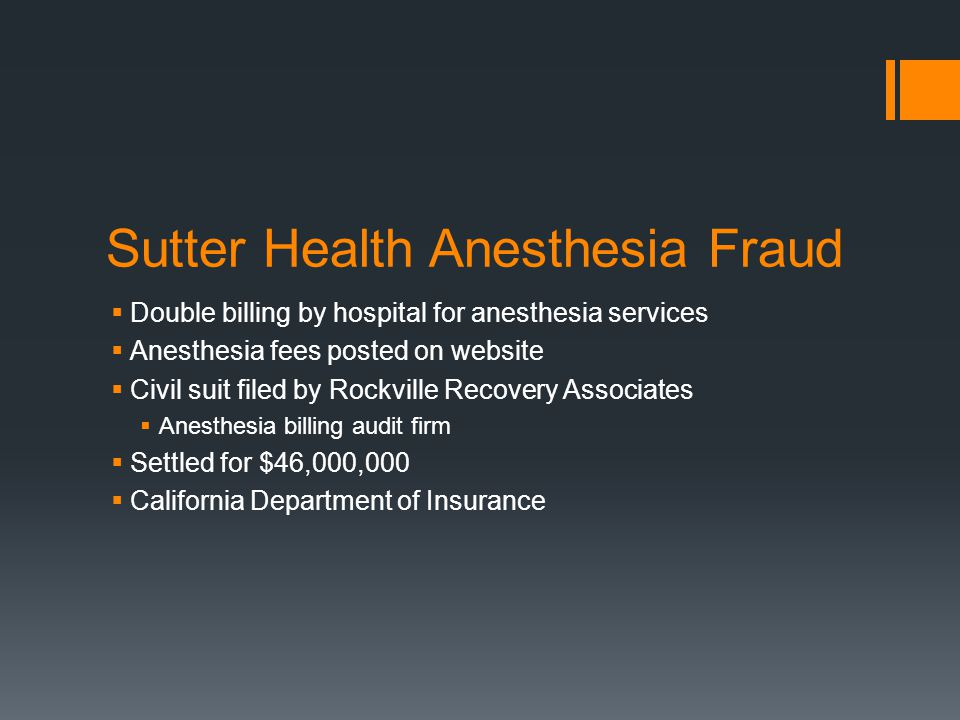 Sutter Health Anesthesia Fraud