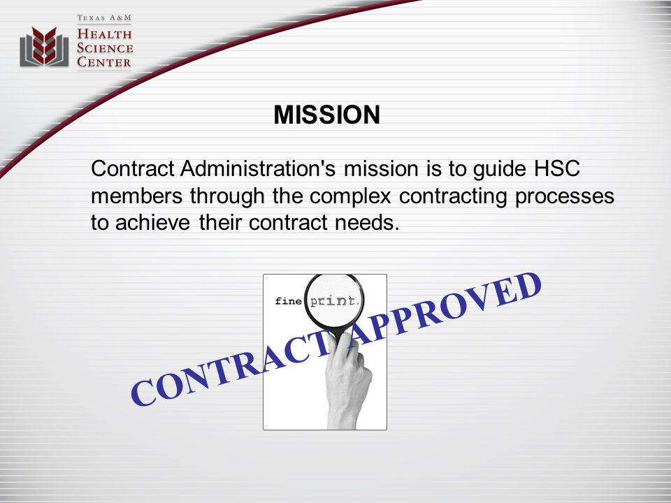 CONTRACT APPROVED MISSION