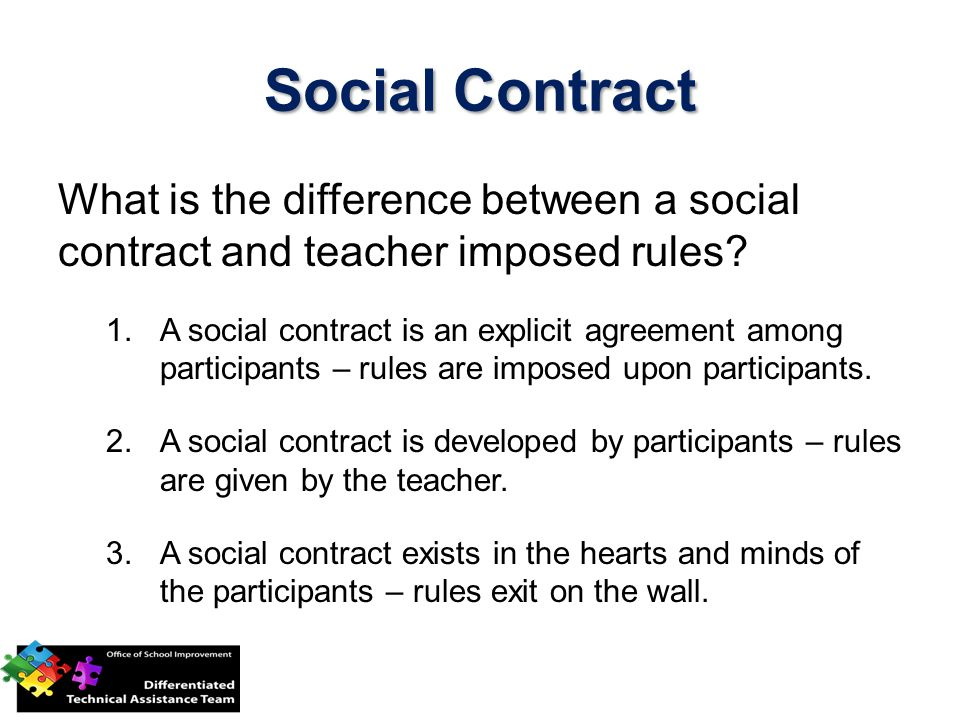 Social Contract What is the difference between a social contract and teacher imposed rules