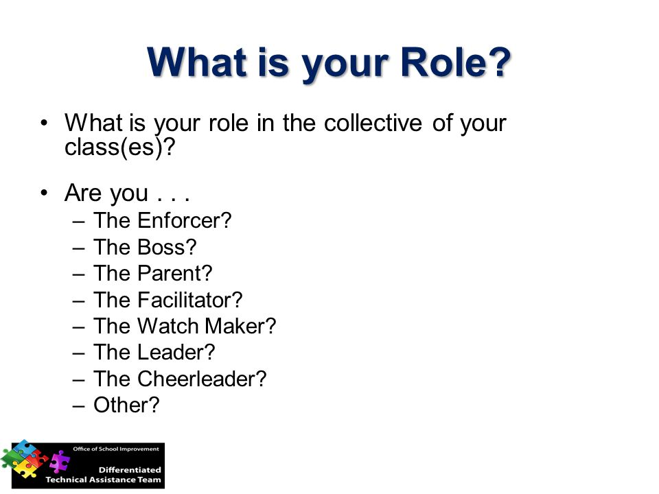 What is your Role What is your role in the collective of your class(es) Are you . . . The Enforcer