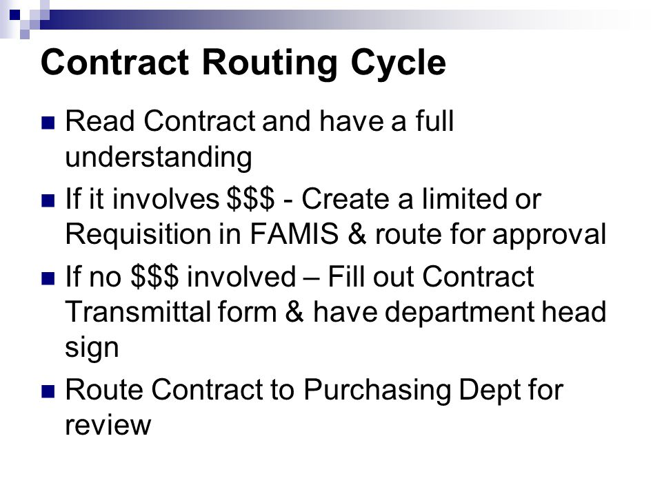 Contract Routing Cycle