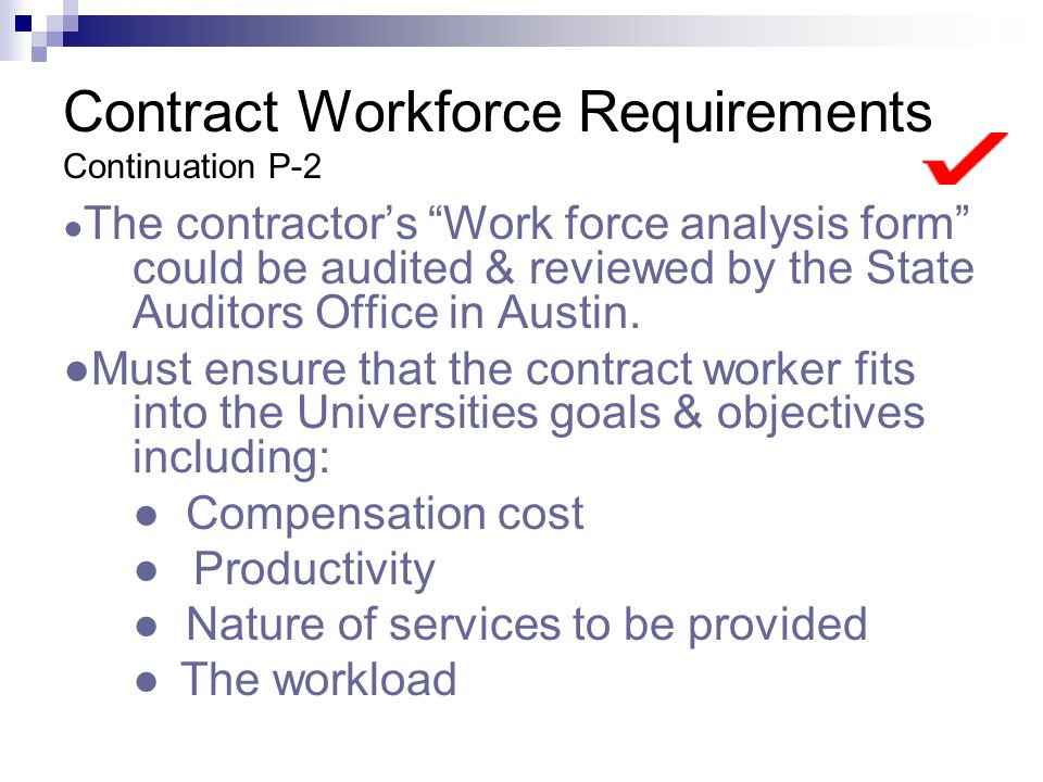Contract Workforce Requirements Continuation P-2