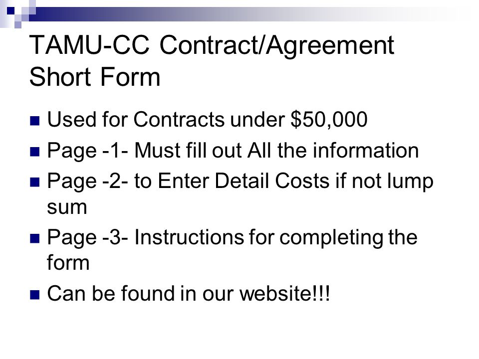 TAMU-CC Contract/Agreement Short Form