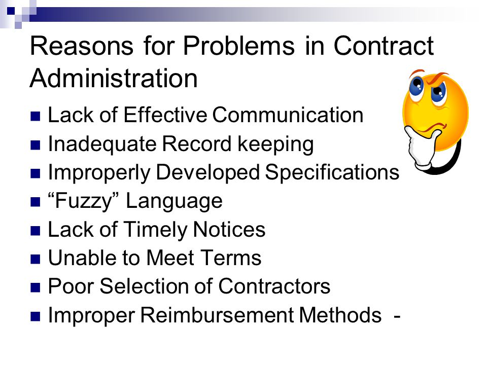 Reasons for Problems in Contract Administration