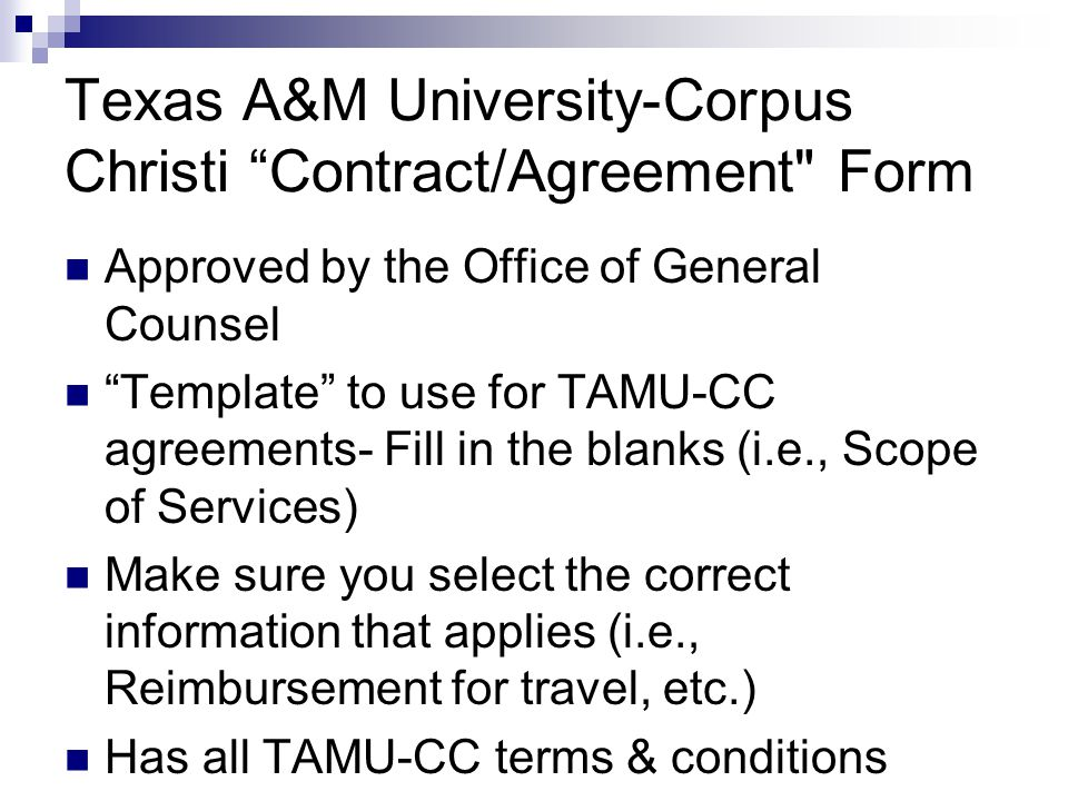 Texas A&M University-Corpus Christi Contract/Agreement Form