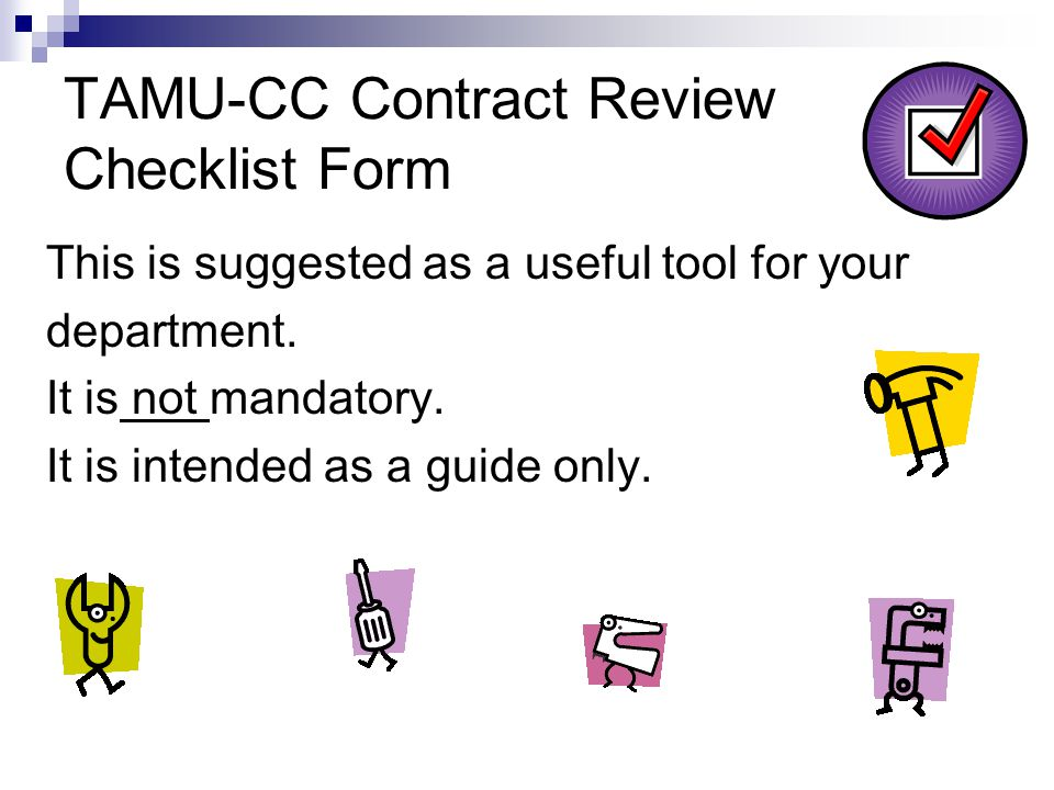 TAMU-CC Contract Review Checklist Form