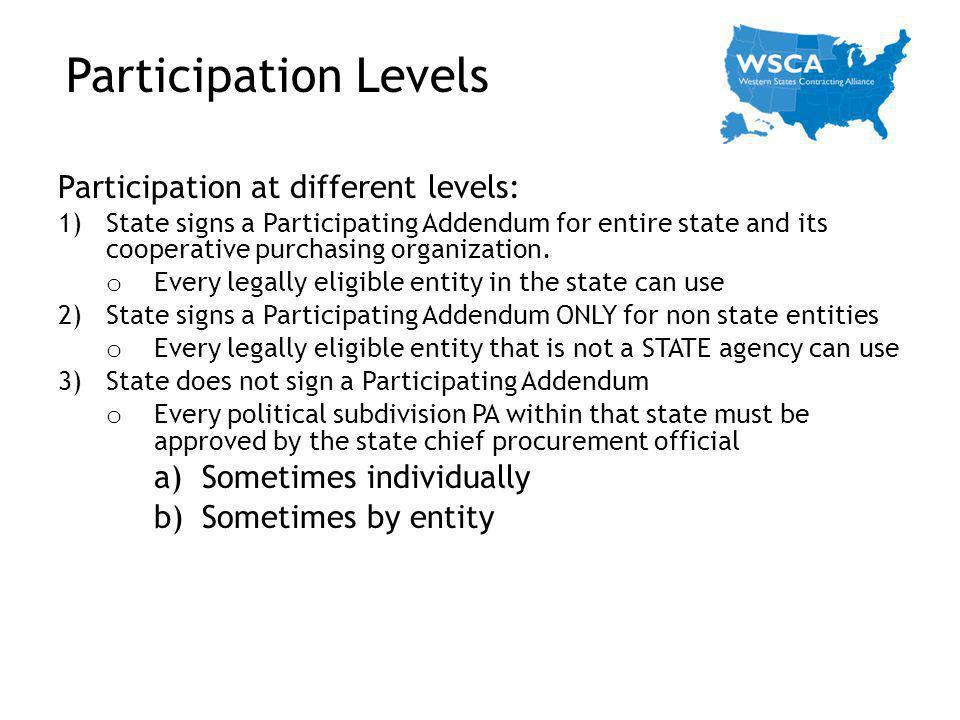 Participation Levels Participation at different levels: