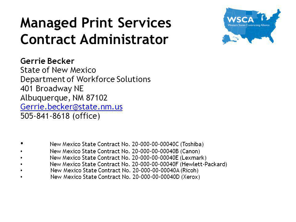 Managed Print Services Contract Administrator