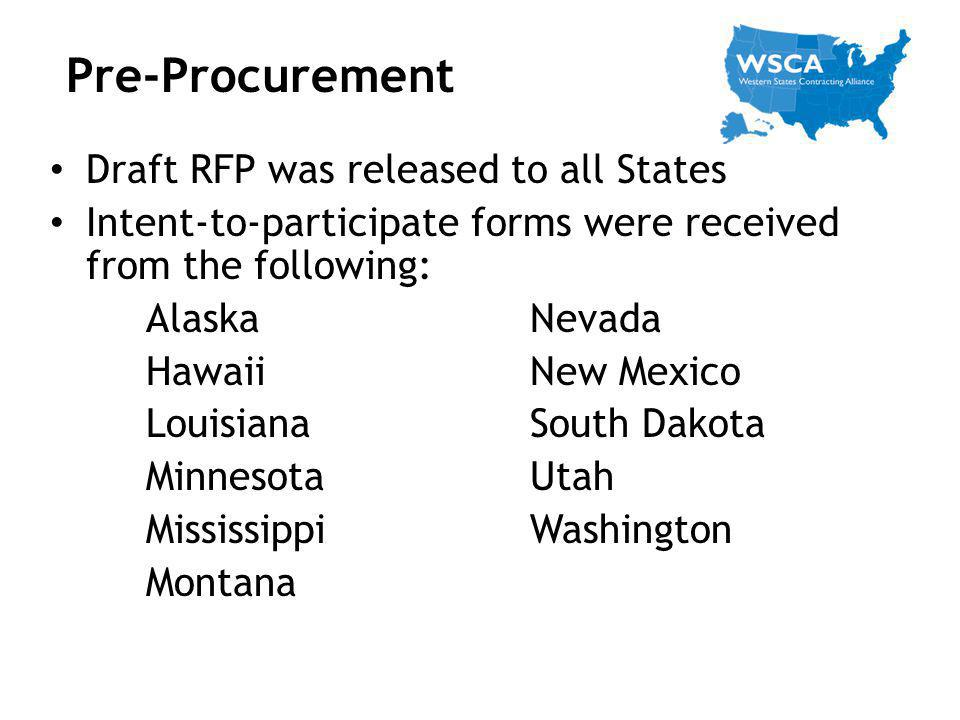 Pre-Procurement Draft RFP was released to all States