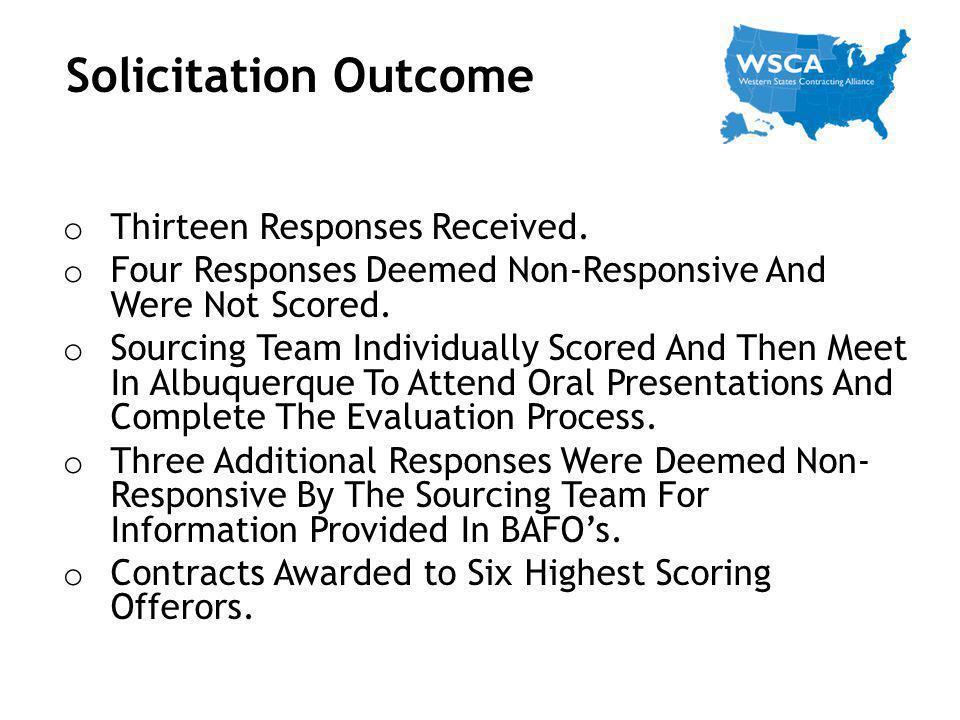 Solicitation Outcome Thirteen Responses Received.