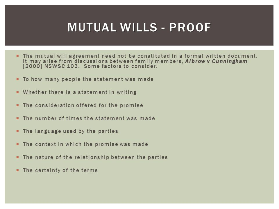 Mutual WILLS - Proof