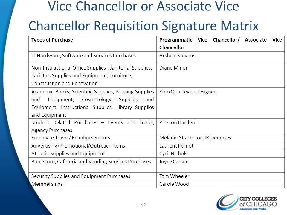 Vice Chancellor or Associate Vice Chancellor Requisition Signature Matrix