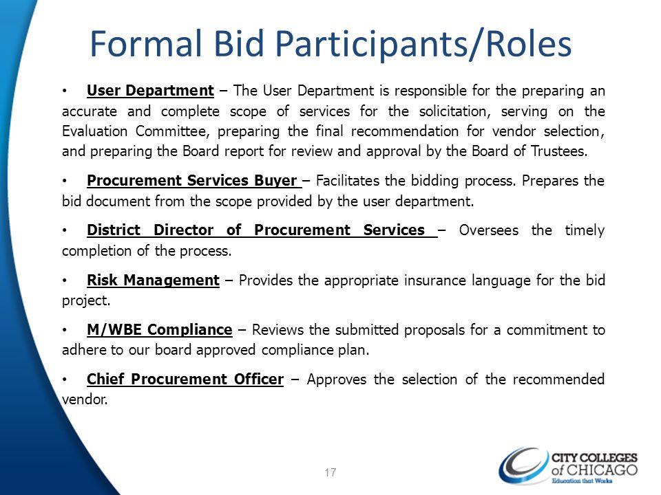 Formal Bid Participants/Roles