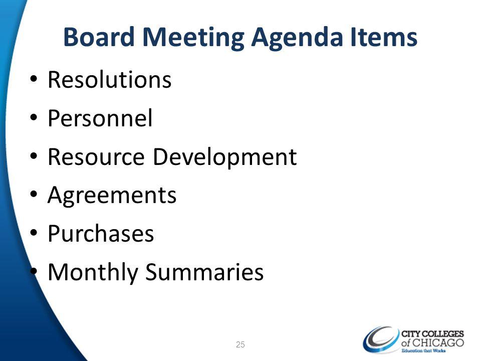 Board Meeting Agenda Items