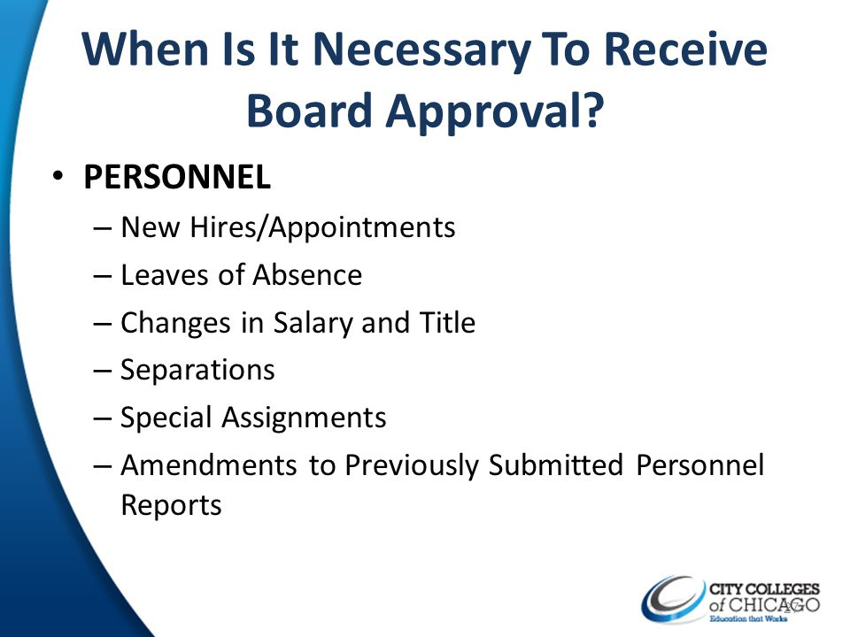When Is It Necessary To Receive Board Approval