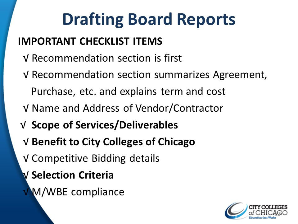 Drafting Board Reports