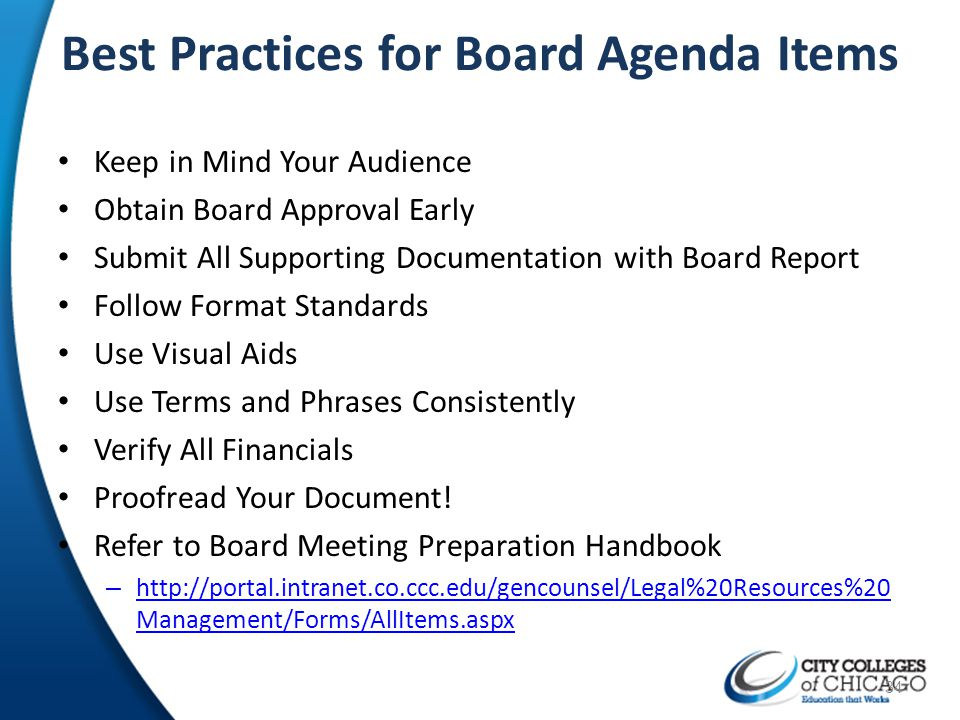 Best Practices for Board Agenda Items