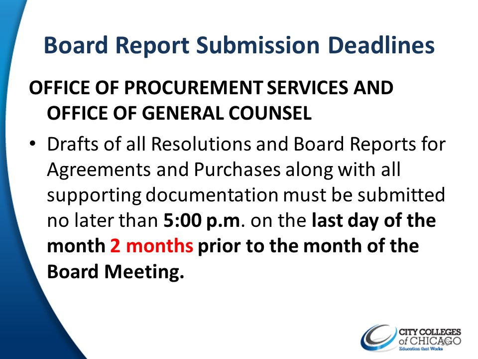 Board Report Submission Deadlines