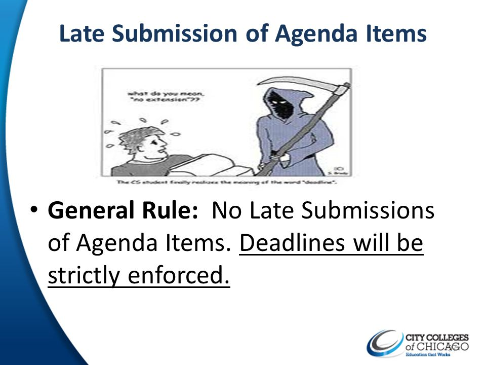 Late Submission of Agenda Items