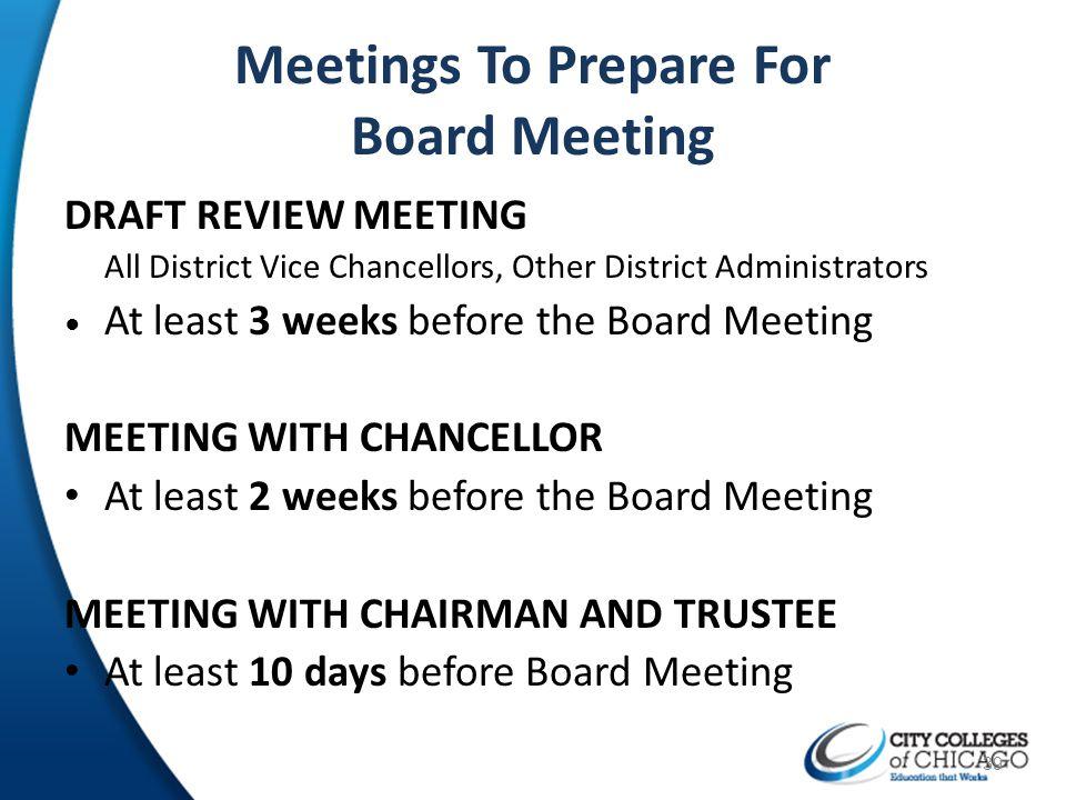 Meetings To Prepare For Board Meeting