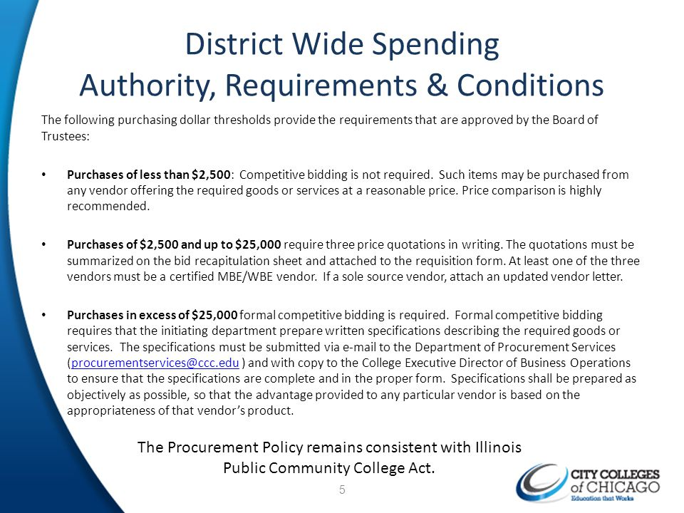 District Wide Spending Authority, Requirements & Conditions