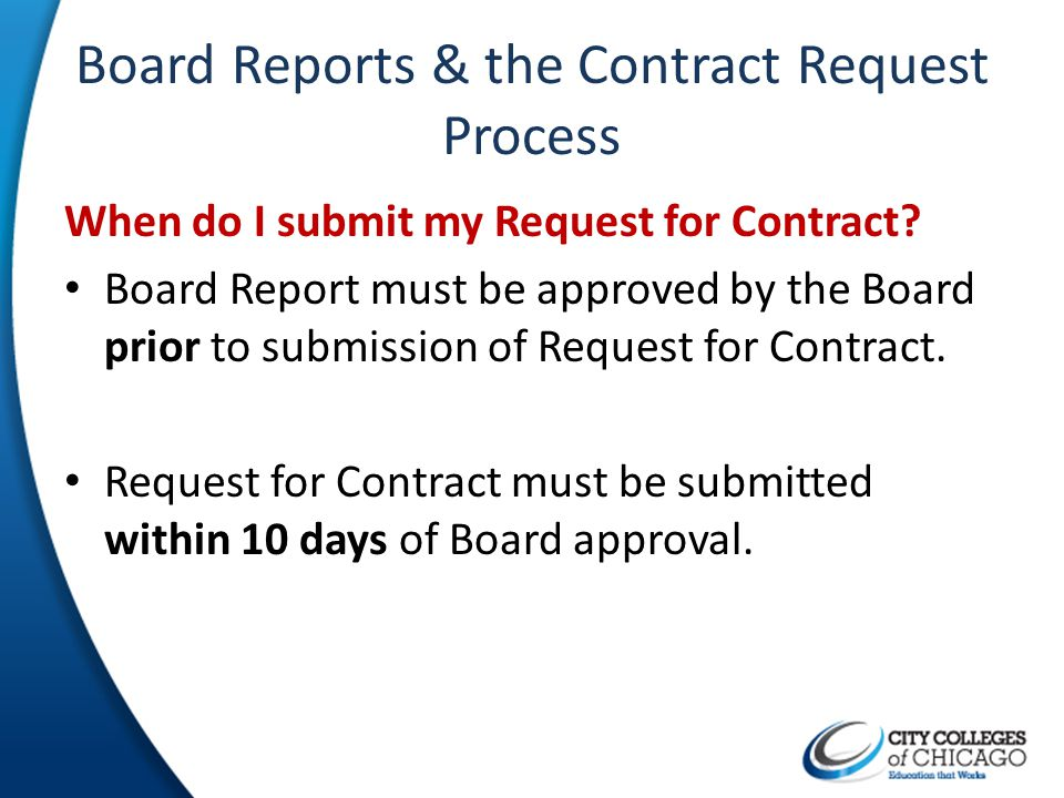 Board Reports & the Contract Request Process