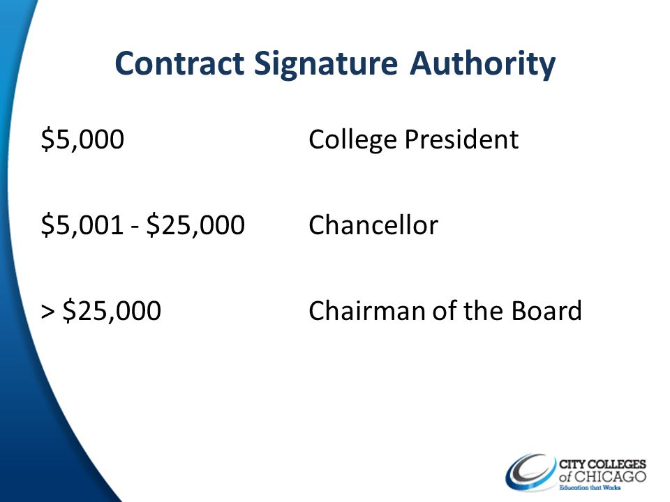 Contract Signature Authority