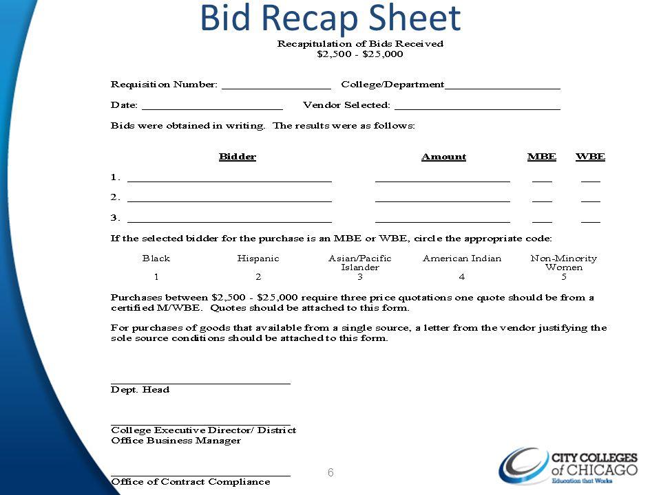 Bid Recap Sheet 6