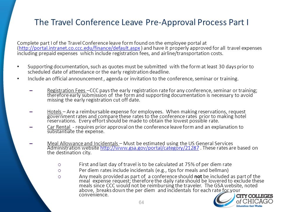 The Travel Conference Leave Pre-Approval Process Part I