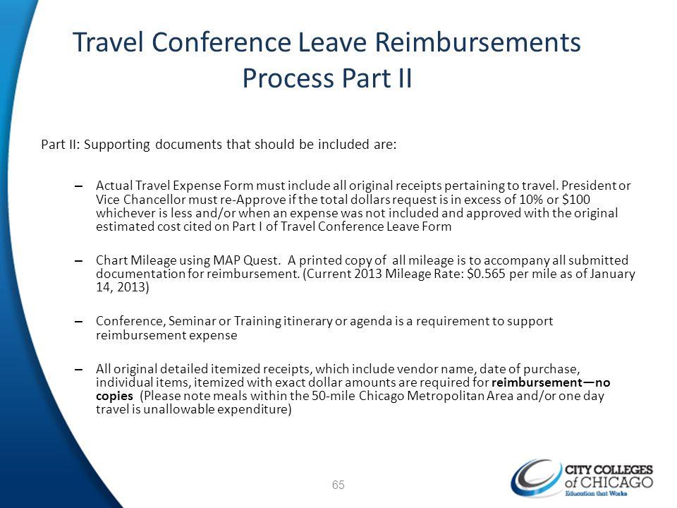 Travel Conference Leave Reimbursements Process Part II