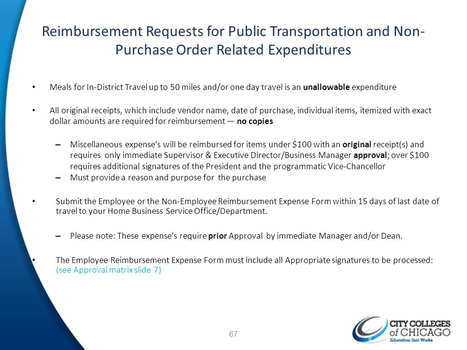Reimbursement Requests for Public Transportation and Non-Purchase Order Related Expenditures