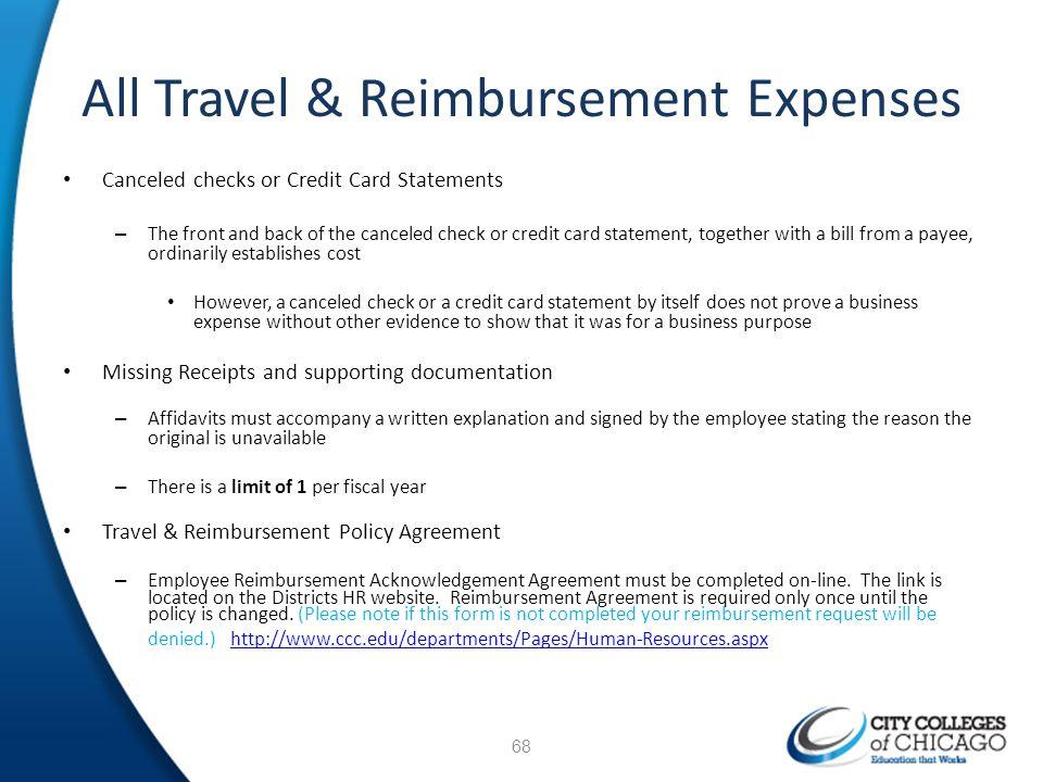 All Travel & Reimbursement Expenses