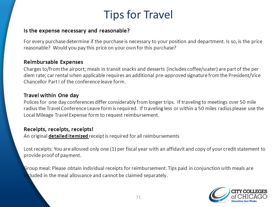 Tips for Travel Is the expense necessary and reasonable